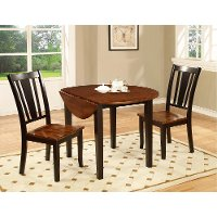 Black and Cherry 3 Piece Round Dining Set - Dover