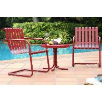 KO10007RE 3 Piece Metal Outdoor Conversation Seating Set - Gracie
