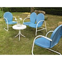 KO10002BL 3 Piece Metal Set - Loveseat & 2 Chairs in Sky Blue Finish - Griffith