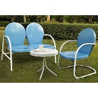 KO10003BL 3 Piece Metal Set - Loveseat & Chair in Sky Blue Finish with Side Table - Griffith