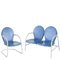 KO10005BL 2 Piece Metal Set - Loveseat & Chair in Sky Blue Finish - Griffith
