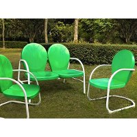 KO10002GR 3 Piece Metal Set - Loveseat & 2 Chairs in Grasshopper Green Finish - Griffith