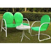 KO10003GR 3 Piece Metal Set - Loveseat & Chair in Grasshopper Green Finish with Side Table - Griffith