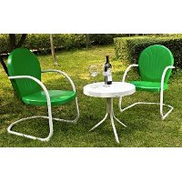 KO10004GR 3 Piece Metal Set - Two Chairs in Grasshopper Green Finish with Side Table - Griffith