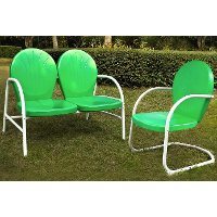 KO10005GR 2 Piece Metal Set - Loveseat & Chair in Grasshopper Green Finish - Griffith