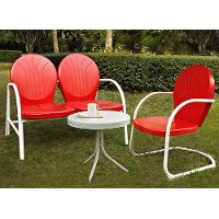 KO10003RE 3 Piece Metal Set - Loveseat & Chair in Red Finish with Side Table - Griffith
