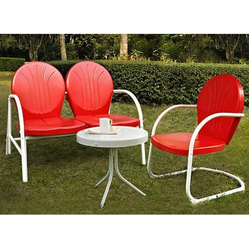 KO10003RE 3 Piece Metal Set   Loveseat U0026 Chair In Red Finish With Side  Table