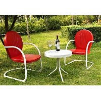 KO10004RE 3 Piece Metal Set - Two Chairs in Red Finish with Side Table - Griffith