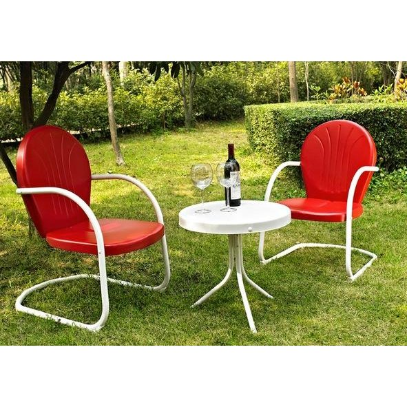 Red 3 Piece Metal Outdoor Patio Furniture Set - Griffith