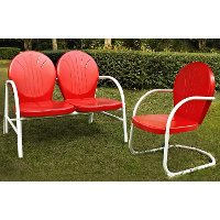 KO10005RE 2 Piece Metal Set - Loveseat & Chair in Red Finish - Griffith