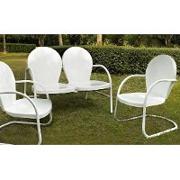 KO10002WH 3 Piece Metal Outdoor Seating Set - Loveseat & 2 Chairs in White Finish - Griffith