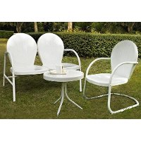 KO10003WH 3 Piece Metal Set - Loveseat & Chair in White Finish with Side Table - Griffith