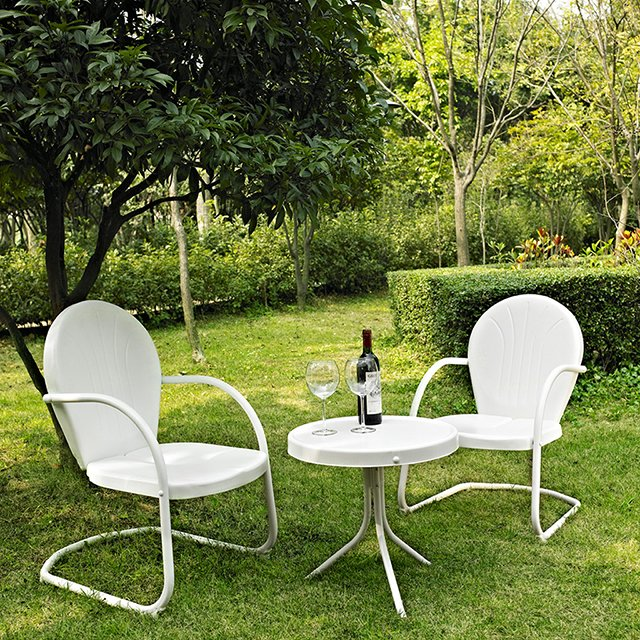 3 Piece Metal Set Two Chairs In White Finish With Side Table Griffith Rc Willey Furniture