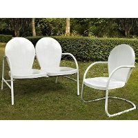 KO10005WH 2 Piece Metal  Set - Loveseat & Chair in White Finish - Griffith