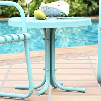 CO1011A-BL Metal Blue Outdoor Patio Side Table - Retro