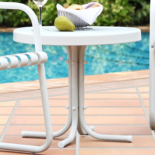 Metal White Outdoor Patio Side Table