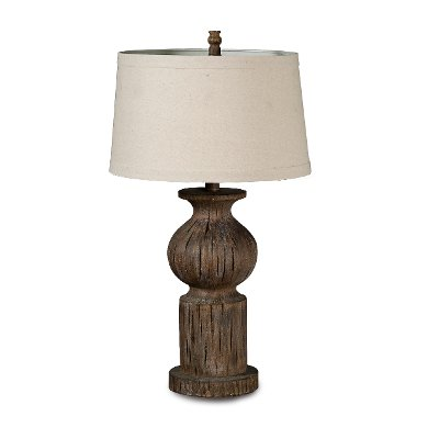 Rustic Dark Wood Table Lamp