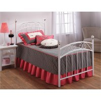 11180BTWR White Traditional Twin Metal Bed - Emily