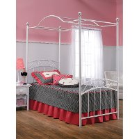11180BTWPR White Traditional Twin Metal Canopy Bed - Emily