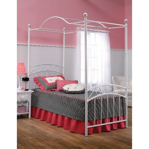 ... 11180BTWPR White Traditional Twin Metal Canopy Bed - Emily ...  sc 1 st  RC Willey & Buy a new canopy bed from RC Willey