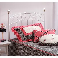 1862HTWR White Traditional Metal Twin Headboard - Emily