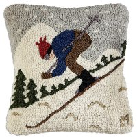 Downhill Skier Hand Hooked Throw Pillow