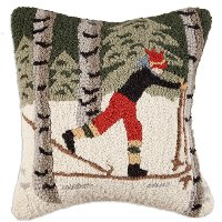 Back Country Skier Hand Hooked 18 Inch Throw Pillow