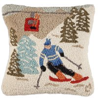 Up and Down Gondola Run Hooked Wool Throw Pillow
