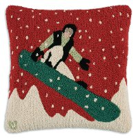 Snow Rider Hand Hook Wool Throw Pillow