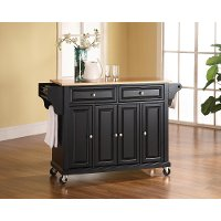 KF30001EBK Natural Black Wood Top Kitchen Cart