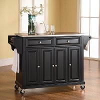 KF30002EBK Black Stainless Steel Top Kitchen Cart