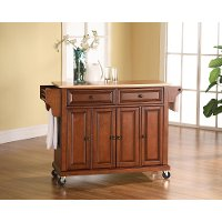 KF30001ECH Cherry Wood Top Kitchen Cart