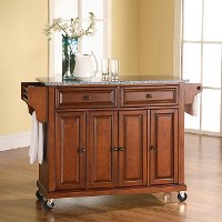 KF30003ECH Cherry 52 Inch Kitchen Cart with Light Granite Top
