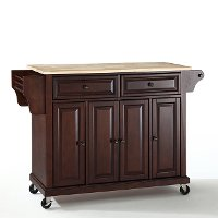 KF30001EMA Natural Mahogany Wood Top Kitchen Cart