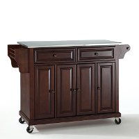 KF30002EMA Mahogany Stainless Steel Top Kitchen Cart