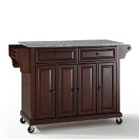 KF30003EMA Mahogany Granite Top Kitchen Cart