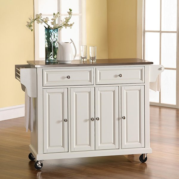 ... KF30002EWH White Stainless Steel Top Kitchen Cart