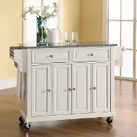 KF30003EWH White Granite Top Kitchen Cart
