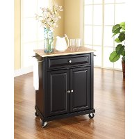 KF30021EBK Natural Black Wood Top Portable Kitchen Cart