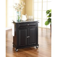 KF30023EBK Black 28 Inch Portable Kitchen Cart with Gray Granite Top