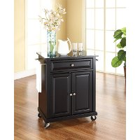 KF30024EBK Black 28 Inch Portable Kitchen Cart with Black Top