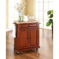 KF30021ECH Cherry Wood Top Portable Kitchen Cart