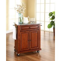 KF30023ECH Cherry 28 Inch Portable Kitchen Cart with Light Granite Top