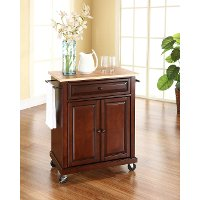 KF30021EMA Mahogany Wood Top Portable Kitchen Cart
