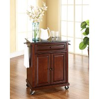 KF30024EMA Mahogany Granite Top Portable Kitchen Cart