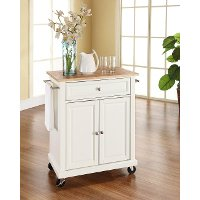 KF30021EWH White Wood Top Portable Kitchen Cart