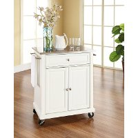 KF30022EWH White Stainless Steel Top Portable Kitchen Cart