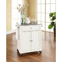 KF30023EWH White Granite Top Portable Kitchen Cart