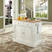 KF30006WH White Butcher Block Top Kitchen Island - Oxford