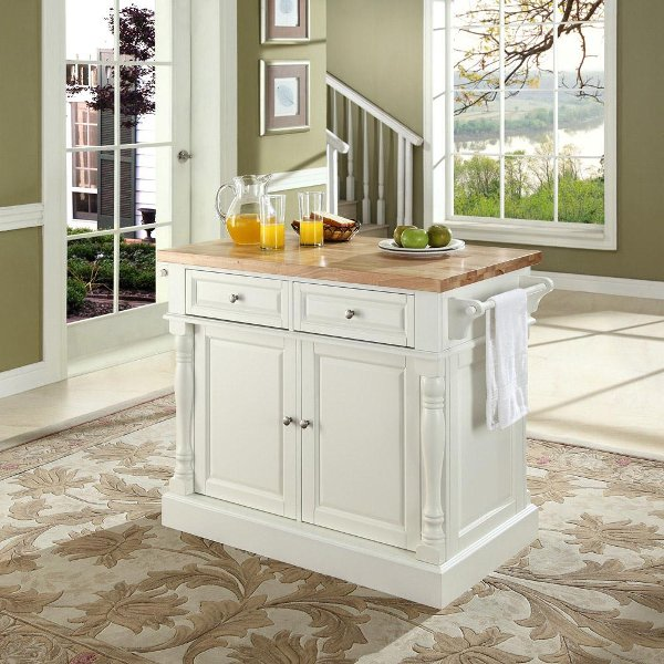 Kf30006wh White Butcher Block Top Kitchen Island Oxford